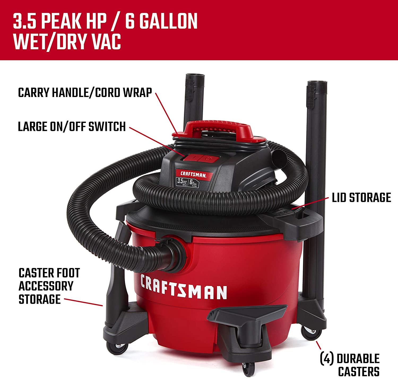 Craftsman 6 Gallon Wet Dry Vac 3 Peak HP Vacuum Portable Garage Auto Car Cleaner