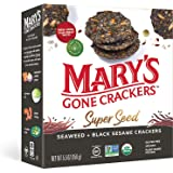 Mary's Gone Crackers Super Seed Crackers, Organic Plant Based Protein, Gluten Free, Seaweed & Black Sesame, 5.5 Ounce (Pack o
