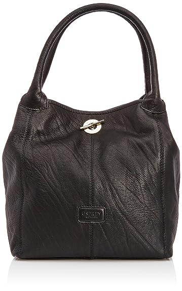 Osprey London Women's Amis Shrunken Grain Shoulder Bag Black 7001 ...