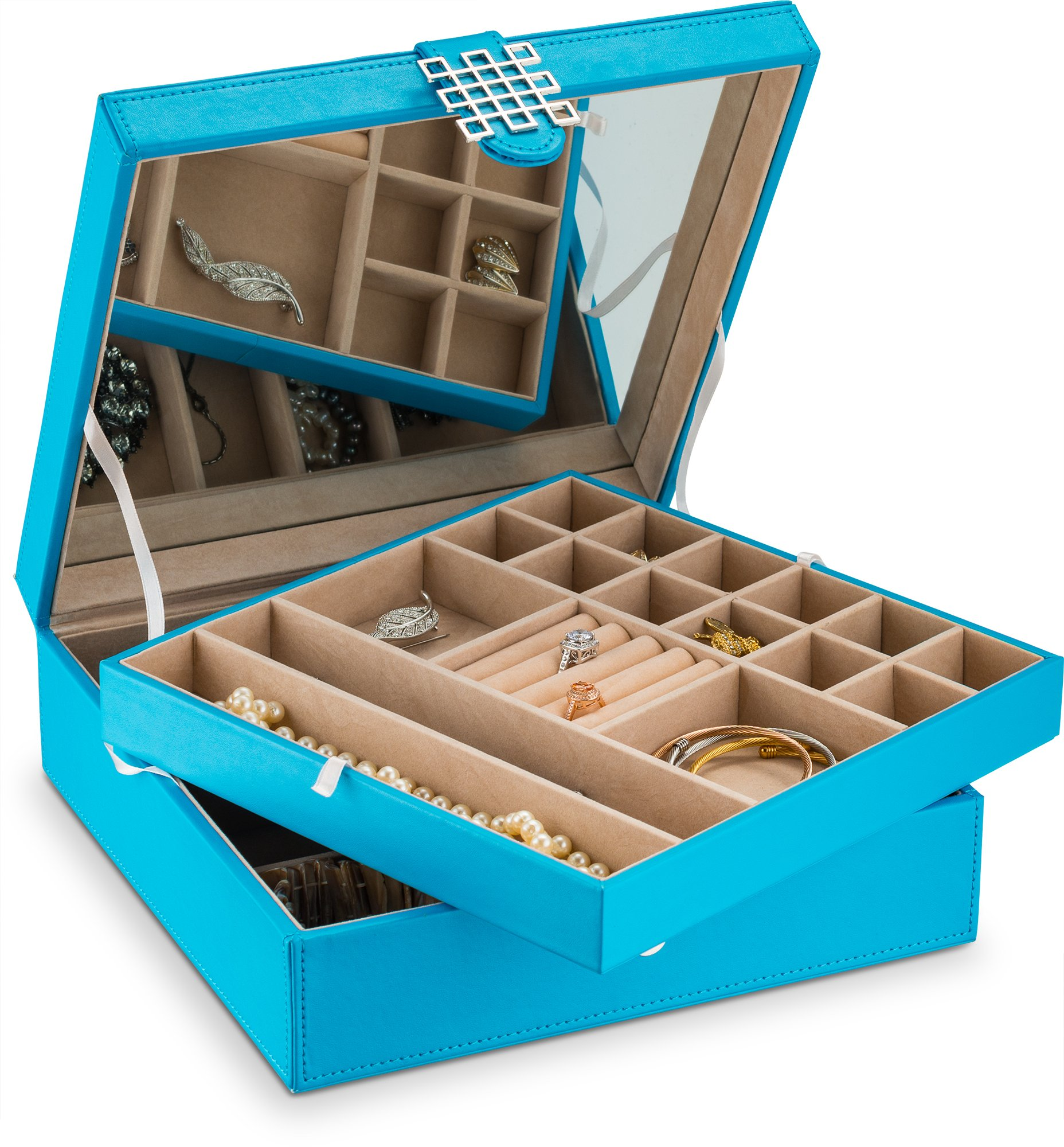 Glenor Co Jewelry Box - 28 Section Classic Organizer with Modern Buckle Closure, Large Mirror & 2 Trays for Women Teens and Girls - Holder for Earring Ring Necklace Bracelet & Watch -PU Leather - Blue