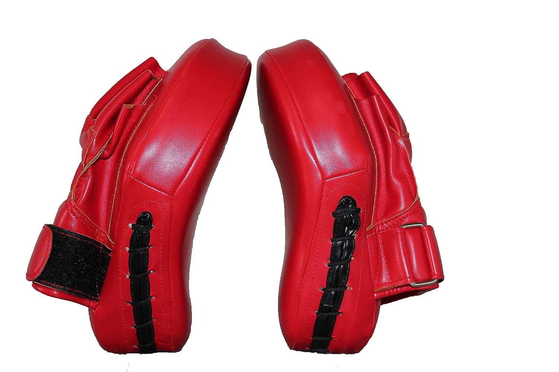 ボクシングレザーパンチフォーカスミット - 空手、ムエタイキック、スパーリング、ドジョ、武道用ターゲットトレーニングハンドパッド B07QCS1FLY レッド