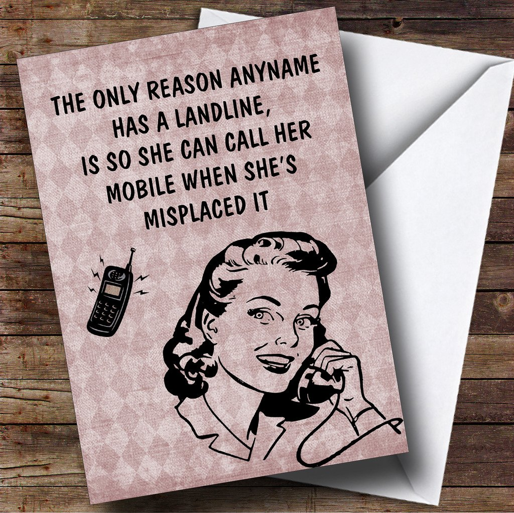 Amazon Funny Joke Retro Mobile Phone Landline Personalized Birthday Greetings Card Office Products