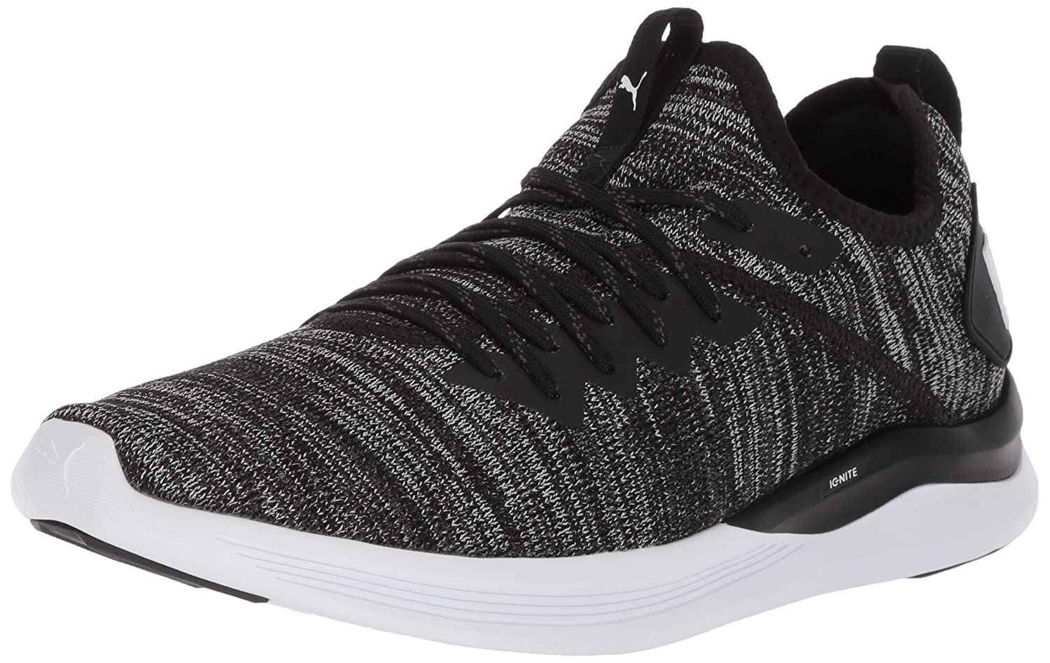 PUMA Men's Ignite Flash Evoknit Sneaker  Black Asphalt White  8 M US