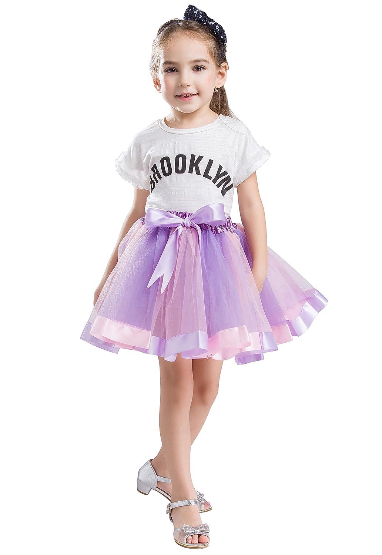 BUENOS NINOS Girls Lined Colorful Layered Ruffle Rainbow Tutu Tiered Ballet Dance Skirt