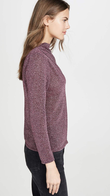 Rebecca Taylor Womens Long Sleeve Mock Neck Metallic Jersey Top