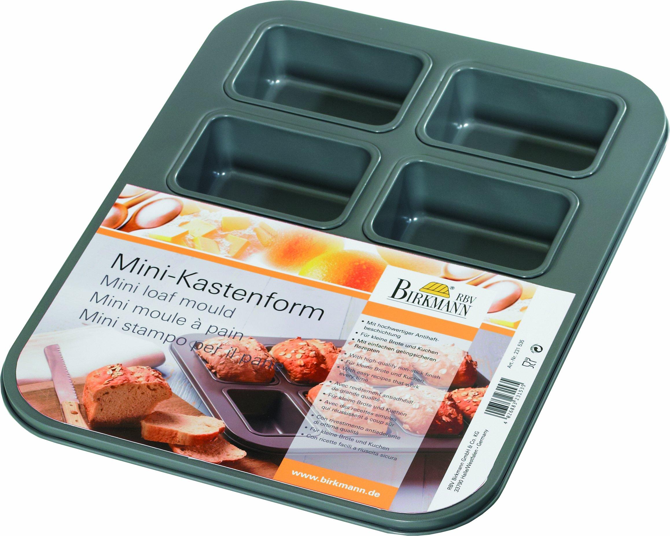 Birkmann 231535 - Mini moldes para pan (8 moldes, dimensiones totales: 35 x