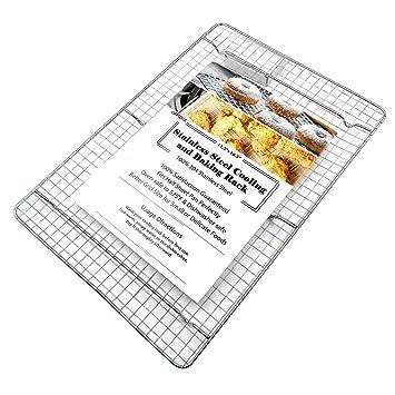 offidix 304 Acero inoxidable para enfriar rectangular Cooling Rack horno moldes alambre para mitad hoja bandeja