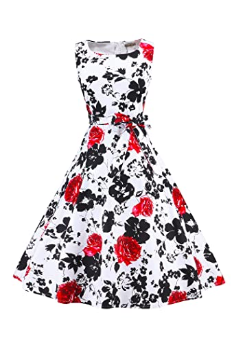 LUOUSE Vintage 1950's Floral Spring Garden Party Picnic Dress