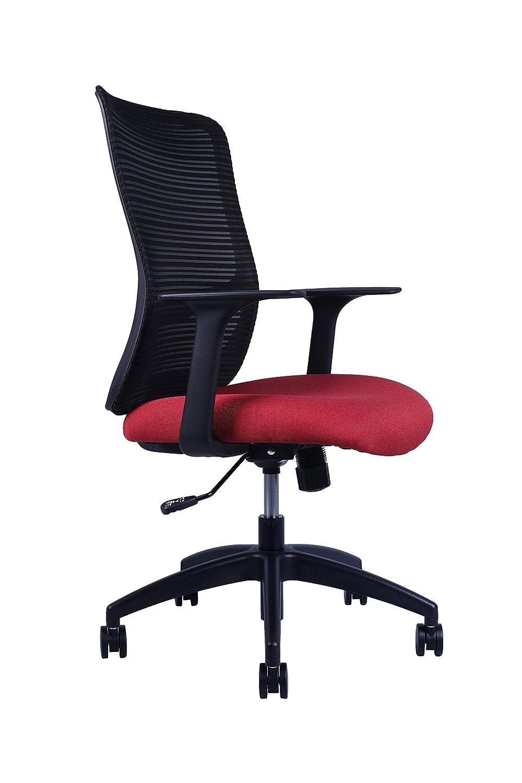 Sunon mid-back人間工学ホームオフィス椅子コンピュータデスク椅子回転タスクチェア  ブラック&レッド B0769BLFDC