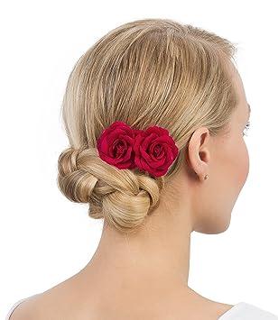 Brautschmuck set blüten  SIX 2er Set Haarspangen mit dunkelroten Rosen-Blüten aus Stoff ...