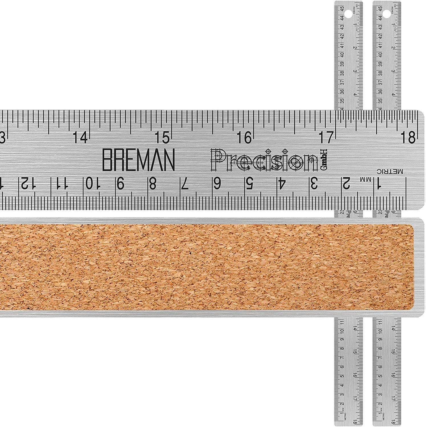 Breman Precision Stainless Steel 18 Inch Metal Ruler 2 Pack - Straight Edge Ruler with Inch and Metric Graduations for School Office Engineering Woodworking - Flexible with Non Slip Cork Base
