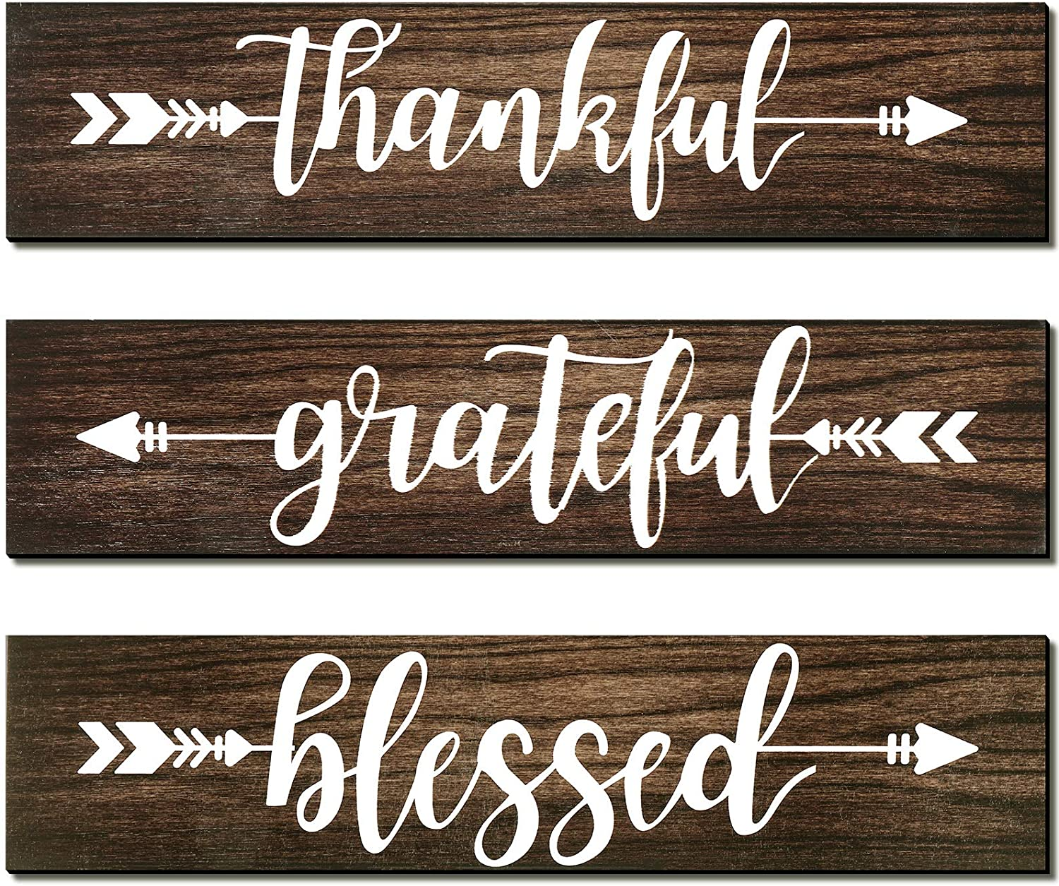 Jetec 3 Pieces Thankful Grateful Blessed Wooden Signs Rustic Wood Arrow Hanging Plaque Sign Wall Art Decor for Farmhouse Entryway Outdoor Decor, 13 x 3 Inch (Brown)