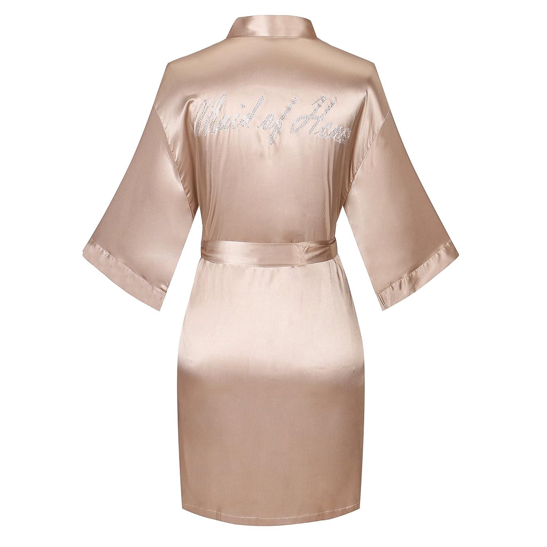 Joy Bridalc Yukata Satin Wedding Robes With Clear Rhinestones-Bride&Bridesmaid Edition