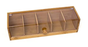 """Lipper International 8187 Bamboo Wood and Acrylic Tea Box with 5 Sections, 14"""" x 5"""" x 3-3/4"""""""