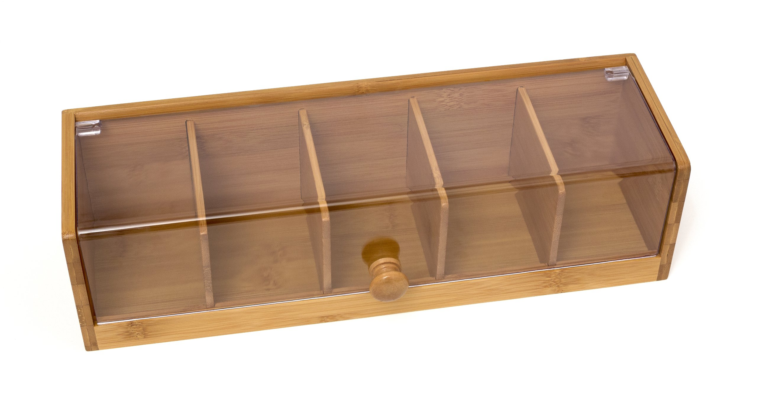 Lipper International 8187 Bamboo Wood and Acrylic Tea Box with 5 Sections, 14'' x 5'' x 3-3/4''