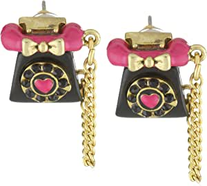 """Betsey Johnson """"Film Noir"""" Telephone Stud Earrings"""