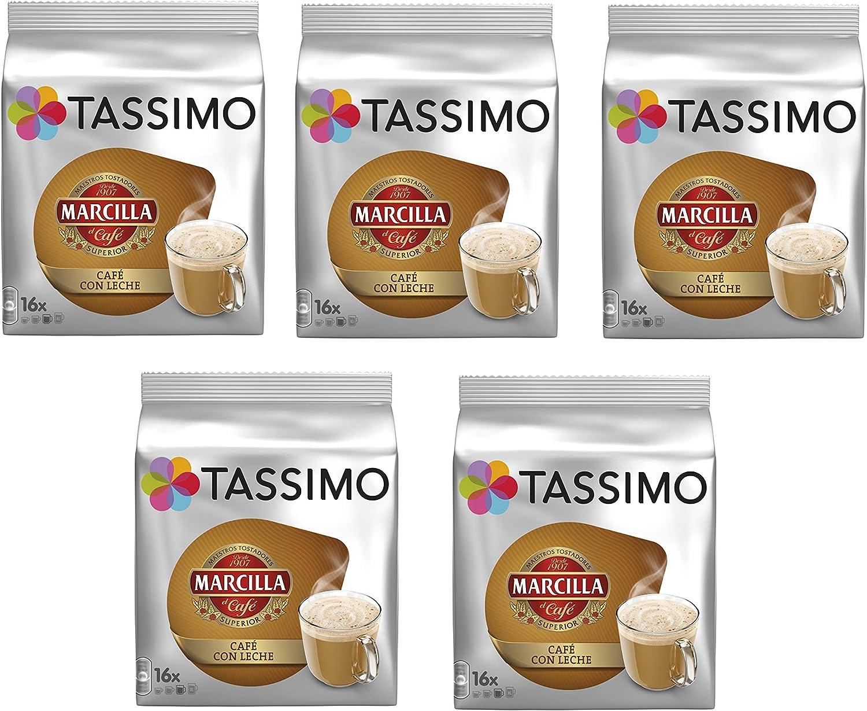 TASSIMO Marcilla Café con Leche - 5 paquetes de 16 cápsulas: Total 80 unidades: Amazon.es: Alimentación y bebidas