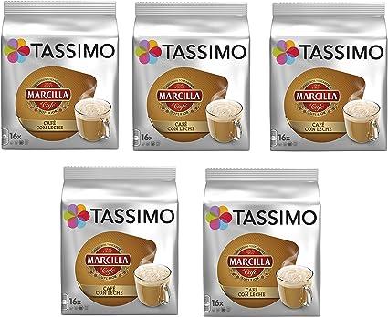 TASSIMO Marcilla Café con Leche - 5 paquetes de 16 cápsulas: Total ...