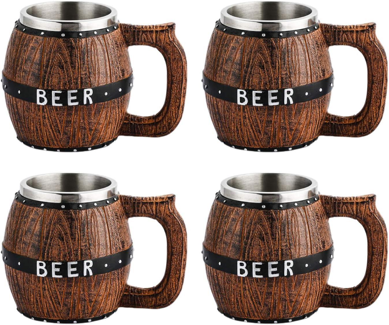 Copas de vino,Taza de cerveza Camping Copa de vino copas de cerveza copa cerveza copa acero inoxidable Jarra de cerveza de barril de madera con revestimiento y asa de acero inoxidable gran capacidad