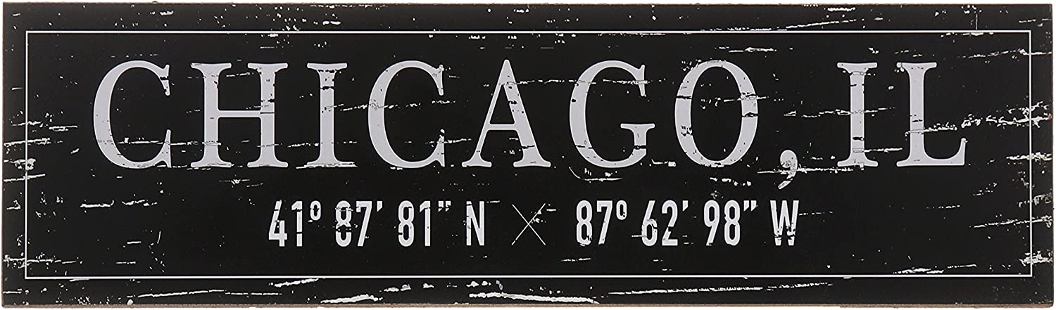 "Barnyard Designs Chicago, IL City Sign Rustic Distressed Decorative Wood Wall Decor 17"" x 5"""