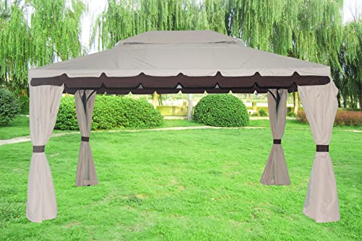 Greenbay 3x4M Aluminium Deluxe Luxury Pavilion Gazebo Awning Canopy Sun Shade Shelter Garden Party Tent