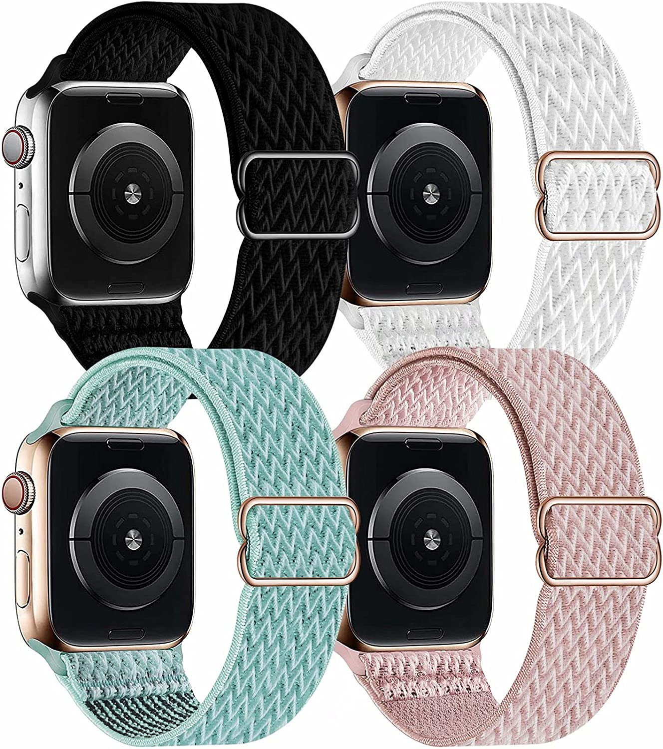OHCBOOGIE 4 Pack Nylon Solo Loop Compatible with Apple Watch Bands,Stretch Adjustable Soft Sport Breathable Straps for Iwatch Series 6/5/4/3/2/1/SE,Black/White/Marine Green/Rose Pink,42/44mm