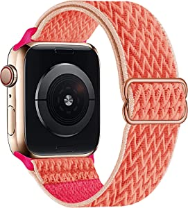 OHCBOOGIE Stretchy Solo Loop Strap Compatible with Apple Watch Bands 38mm 40mm 42mm 44mm ,Adjustable Stretch Braided Sport Elastics Weave Nylon Women Men Wristband Compatible with iWatch Series 6/5/4/3/2/1 SE,Coral,38/40mm
