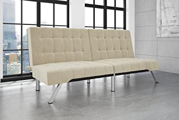 DHP Emily Futon Sofa Bed, Modern Convertible Couch With Chrome Legs Quickly  Converts Into A