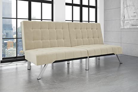 dhp emily futon sofa bed modern convertible couch with chrome legs quickly converts into a