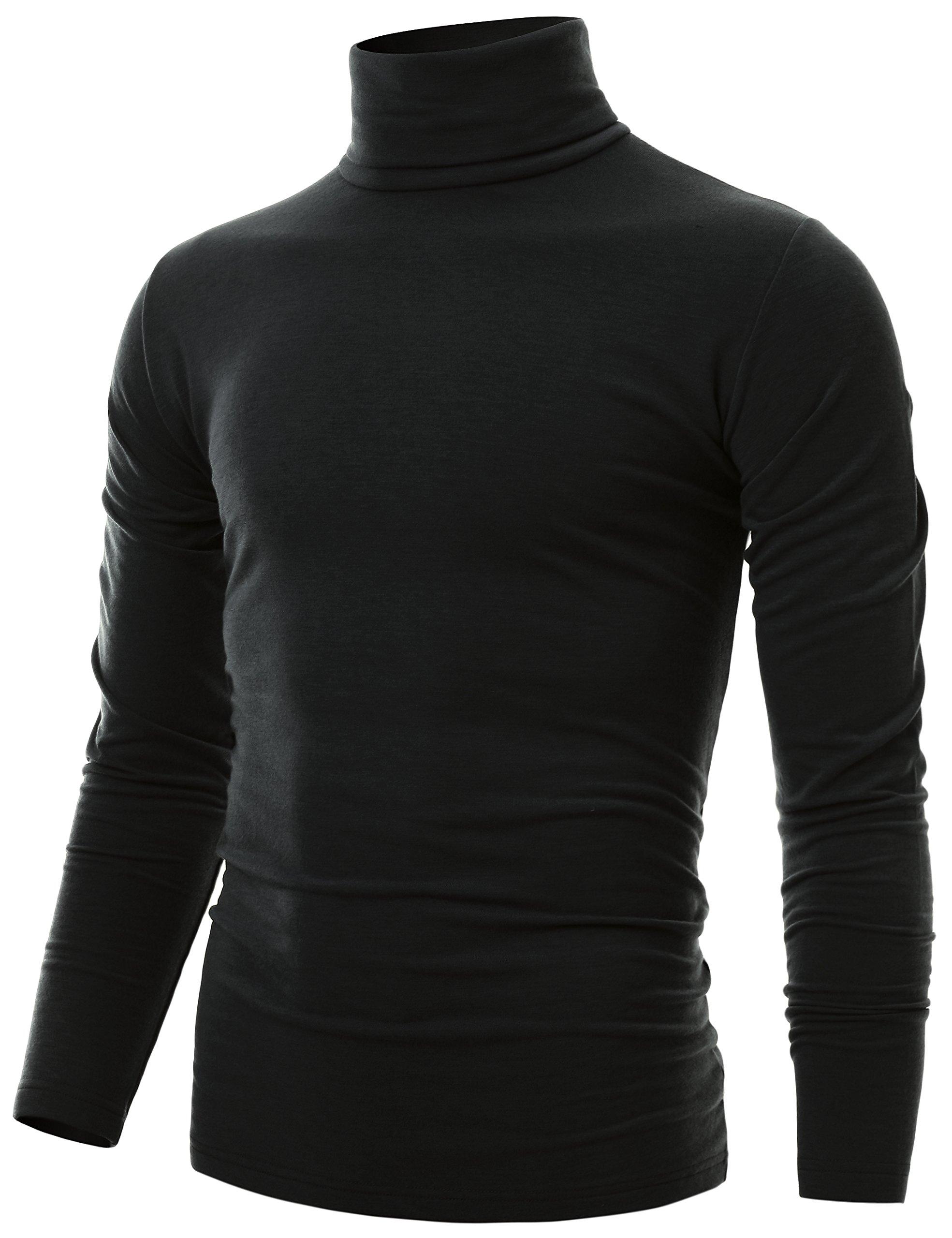 Ohoo Mens Slim Fit Soft Cotton Long Sleeve Pullover Lightweight Turtleneck/DCT001-BLACK-XL