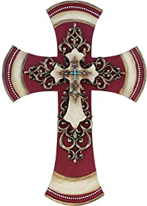 """Old River Outdoors 11 1/2"""" Decorative Layered Tuscan Wall Cross Scrolly Fleur De Lis - Burgundy"""