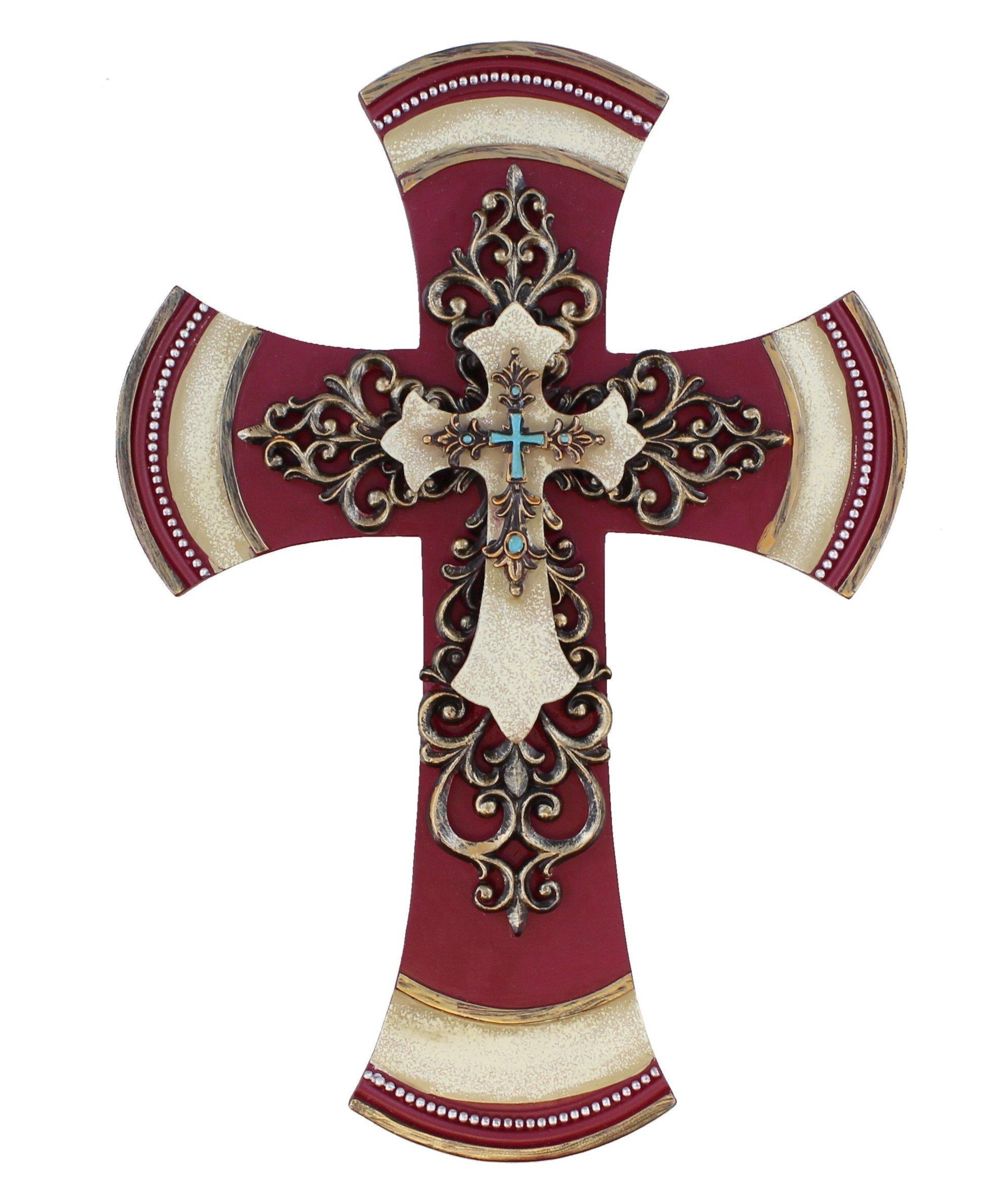 11 1/2'' Decorative Layered Tuscan Wall Cross Scrolly Fleur De Lis - Burgundy