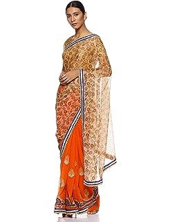 0b143736467 Chhabra 555 Women s Saree With Blouse Piece (HDRA2892 Blue One Size ...