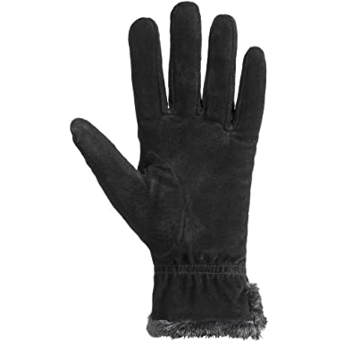 b62f16f73fd3e Amazon.com: isotoner Women's Genuine Suede Cold Weather Gloves with Warm,  Soft Lining: Clothing