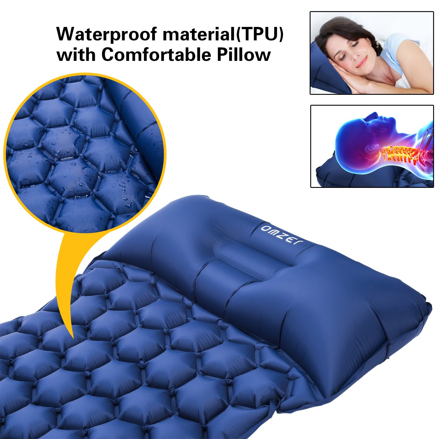 Ultralight Camping Mats For Backpacking Hiking Hammocks Tent With Attached Pillow Compact folding Air Mattress Waterproof And Lightweight Fit Adults Kids omzer Inflatable Sleeping Pad