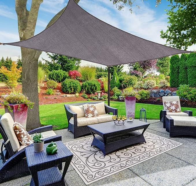SUNNY GUARD Toldo Vela de Sombra Rectangular 2x4m HDPE Transpirable protección UV para Patio, Exteriores, Jardín, Color Antracita