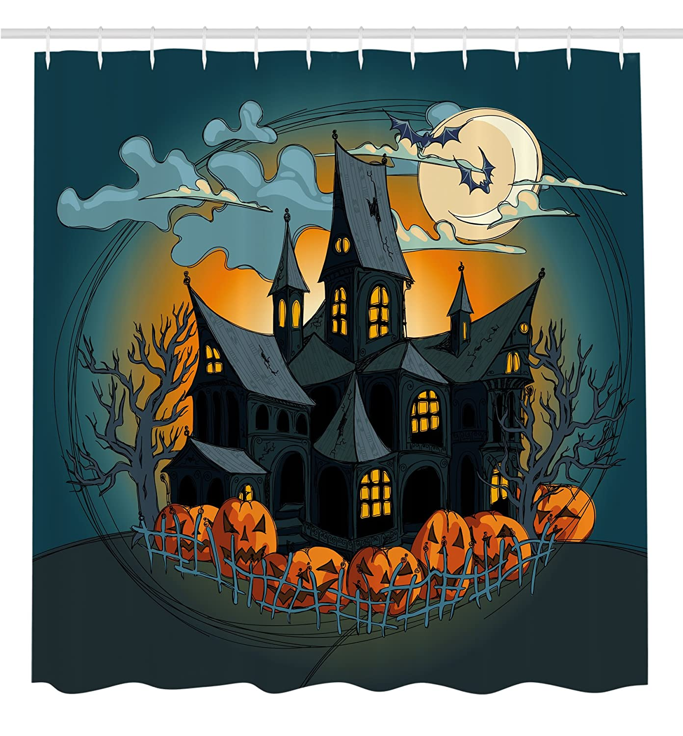 Halloween Decorations Shower Curtain by Ambesonne, Medieval Haunted House with Garden Full of Pumpkins and Dark Night, Fabric Bathroom Decor Set with Hooks, 70 Inches, Orange Teal