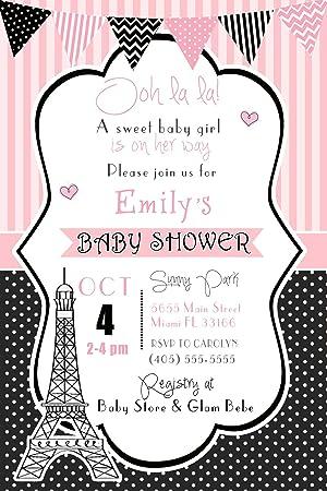 30 invitaciones personalizable niña bebé ducha cumpleaños ...