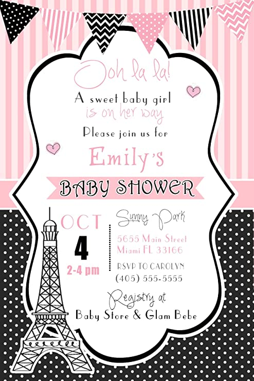 Amazon.com: 30 Invitations Paris Birthday Party Baby Girl ...