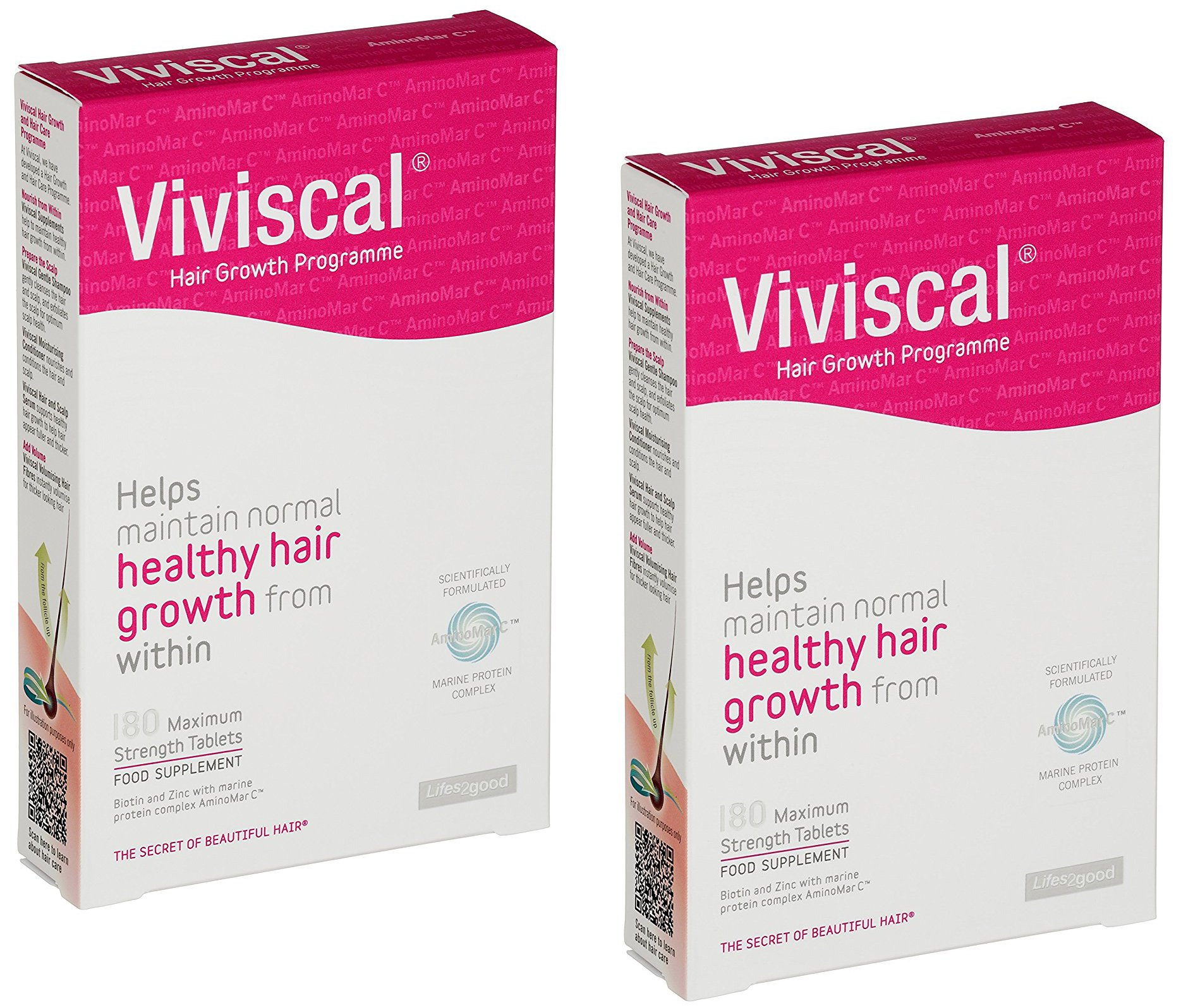 Viviscal Stimulating Extra Strength Hair Nutrient Tablets | 360 Easy Swallow Tablets ( x2 180 Count Boxes)| 6-Month Treatment Value Pack