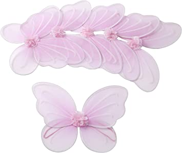 6 Pink Fairy Butterfly Wings Costume Dress Up Party Packages for Girls Toddlers