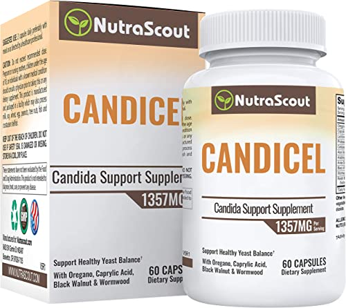 Candicel Candida Cleanse Supplement 100 Money Back Guarantee Caprylic Acid, Oregano Oil, Cellulase, Wormwood, Black Walnut Cloves Combat Yeast, BV Candida Overgrowth 1 Month Supply