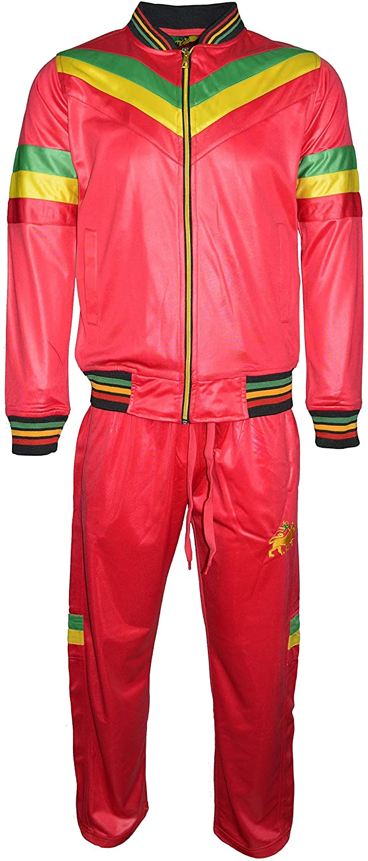 Mens Rasta Tracksuit Set Lion Of Judah Colour Stripes On Front Long Sleeve Zipper Baseball Top Elasticated Waist Trouser