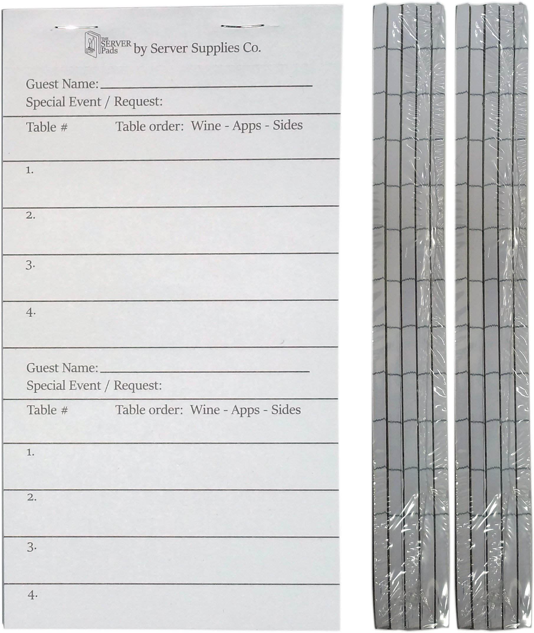 10 Server Order Pads for Waitresses and Waiters (3.75 x 7 Great addition to The Server Book) - Waitress Guest Checks - Waiter Order Pads - Food Service Equipment - 50 pages/book - 10 Books+ (10)