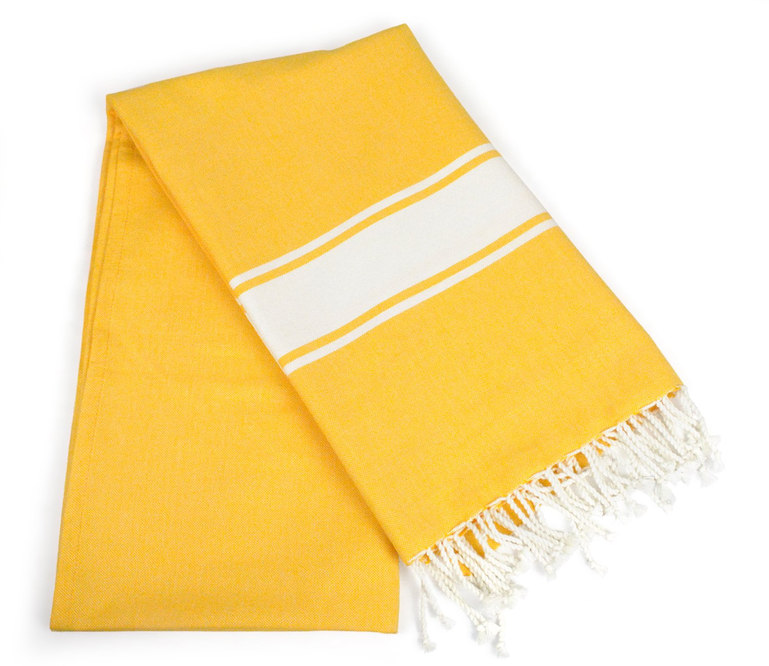 DII Peshtemal Turkish Super Soft, Absorbent, Oversized Bath Towel, Throw, & Blanket Fringe For Chair, Couch, Picnic, Camping, Beach, Yoga, Pilates, & Everyday Use , 39 x 71'' - Yellow Tri Stripe