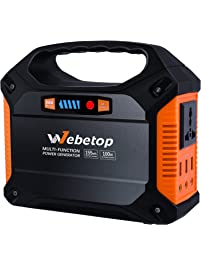 Webetop Portable Generator Inverter Battery Camping Emergency Home Use UPS Power Source Charged Solar Panel/Wall Car 110V...