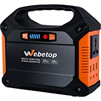 Webetop Portable Generator Inverter Battery Camping Emergency Home Use UPS Power Source Charged by Solar Panel/Wall Car with 110V AC Outlet,3 DC 12V,3 USB Port