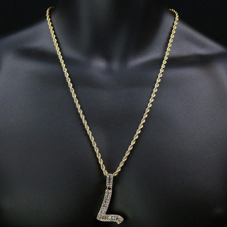 Gold Plated Cz 3D Double Cross /& Alphabet Letter A-Z Pendant 24 Rope Chain Hip Hop Necklace