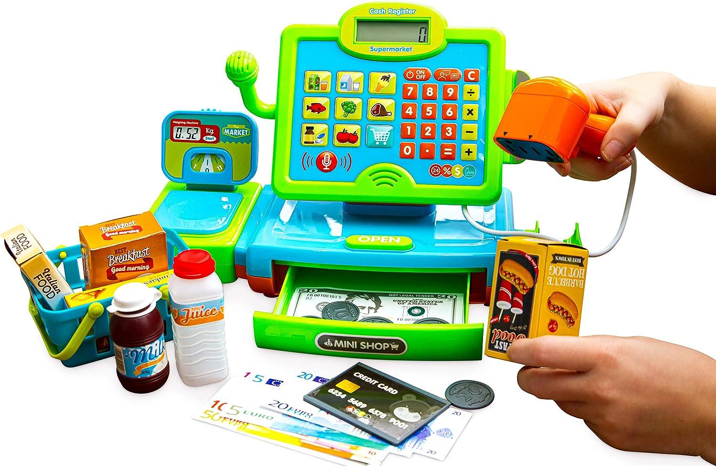 Think Gizmos Caja Registradora de Juguete – Juguete Interactivo - Set de Caja Registradora para Compras con Lector de Tarjetas - Alimentos de Juguete – Cesta de la Compra – Dinero de