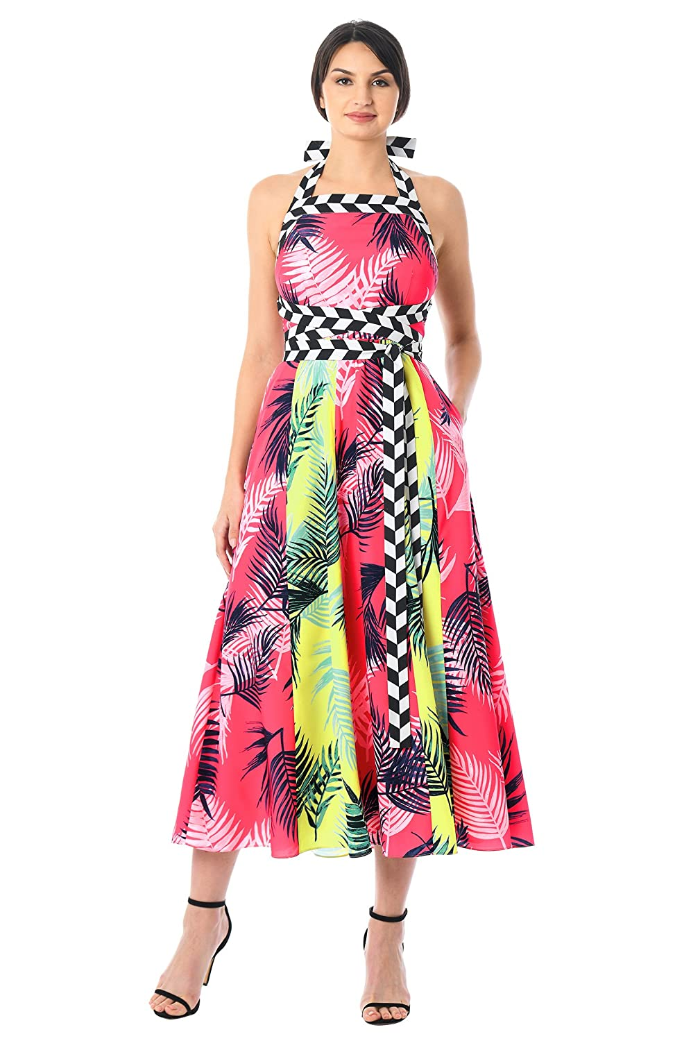7e48c11bc8b9 ... Square neck with contrast halter ties to the back, Elastic high back,  Bodice darts to shape, Seamed waist, Box-pleat full skirt, Side seam  pockets, ...